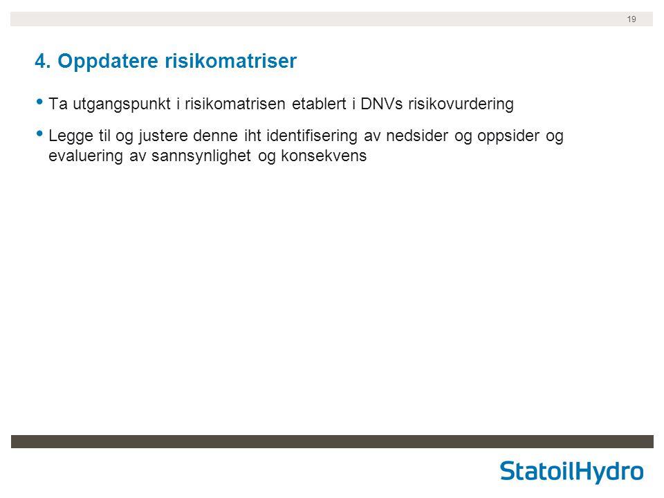 19 4. Oppdatere risikomatriser • Ta utgangspunkt i risikomatrisen etablert i DNVs risikovurdering • Legge til og justere denne iht identifisering av n