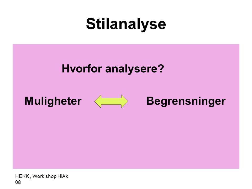 HEKK, Work shop HiAk 08 Stilanalyse Hvorfor analysere? Muligheter Begrensninger