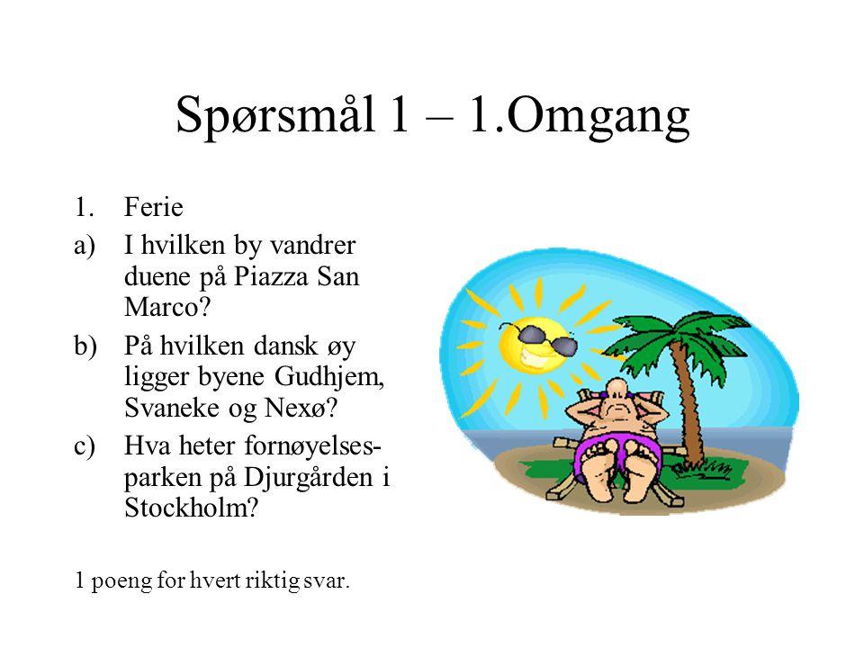 Spørsmål 11 – 1.Omgang 11.Blanda drops – sport a)Bjørg Eva Jensen har 15 NM-gull på skøyter.