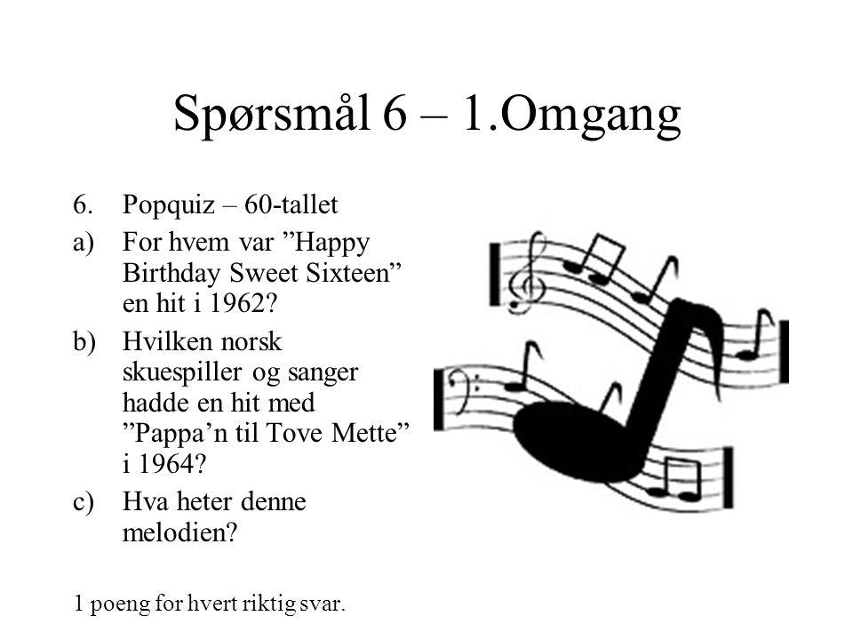 Spørsmål 6 – 1.Omgang 6.Popquiz – 60-tallet a)For hvem var Happy Birthday Sweet Sixteen en hit i 1962.