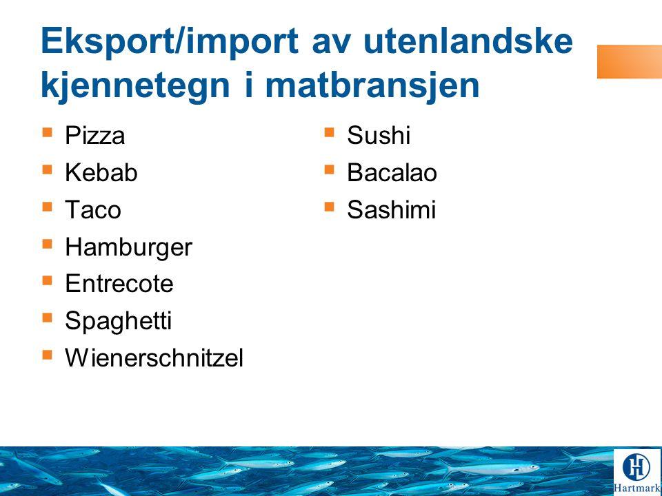 Eksport/import av utenlandske kjennetegn i matbransjen  Pizza  Kebab  Taco  Hamburger  Entrecote  Spaghetti  Wienerschnitzel  Sushi  Bacalao  Sashimi