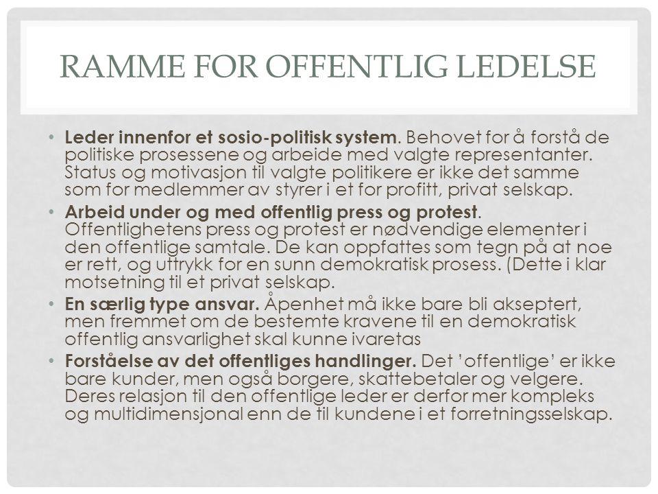 RAMME FOR OFFENTLIG LEDELSE • Leder innenfor et sosio-politisk system.