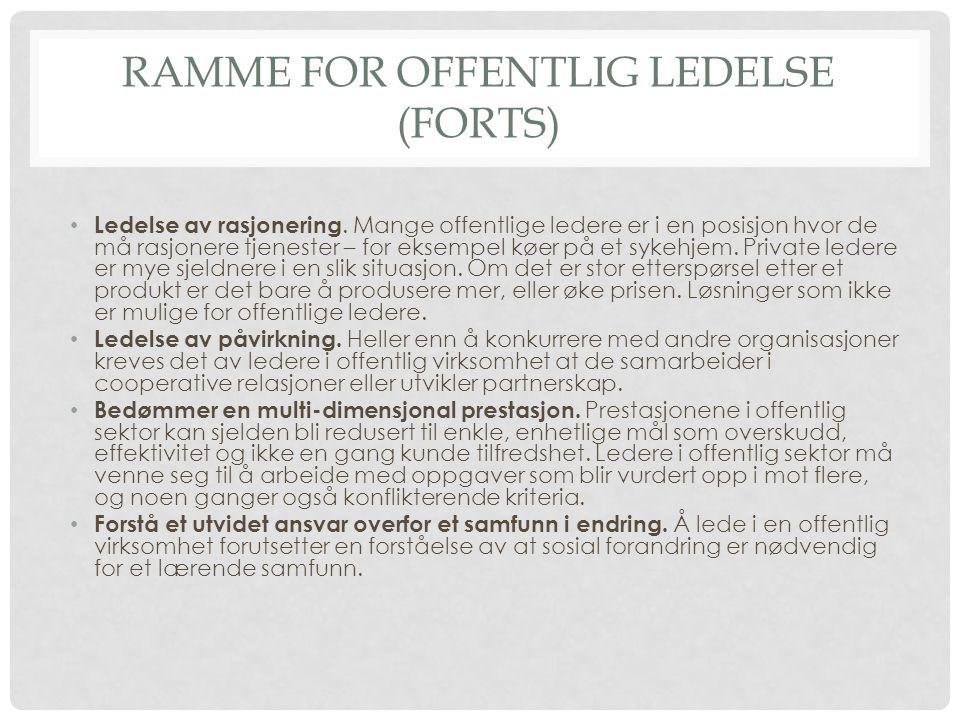 RAMME FOR OFFENTLIG LEDELSE (FORTS) • Ledelse av rasjonering.