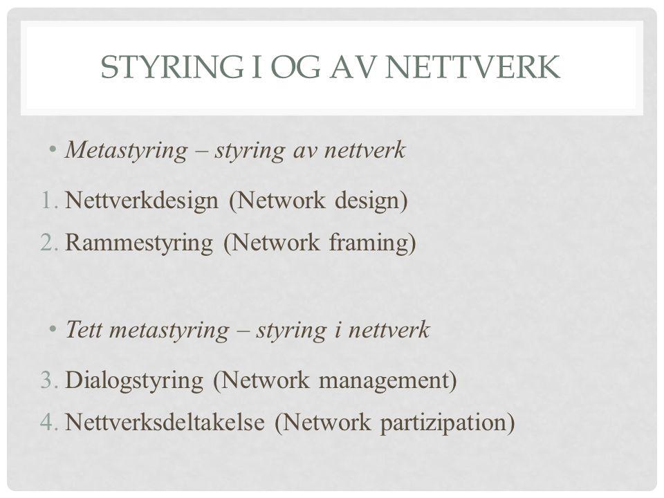 STYRING I OG AV NETTVERK • Metastyring – styring av nettverk 1.Nettverkdesign (Network design) 2.Rammestyring (Network framing) • Tett metastyring – styring i nettverk 3.Dialogstyring (Network management) 4.Nettverksdeltakelse (Network partizipation)