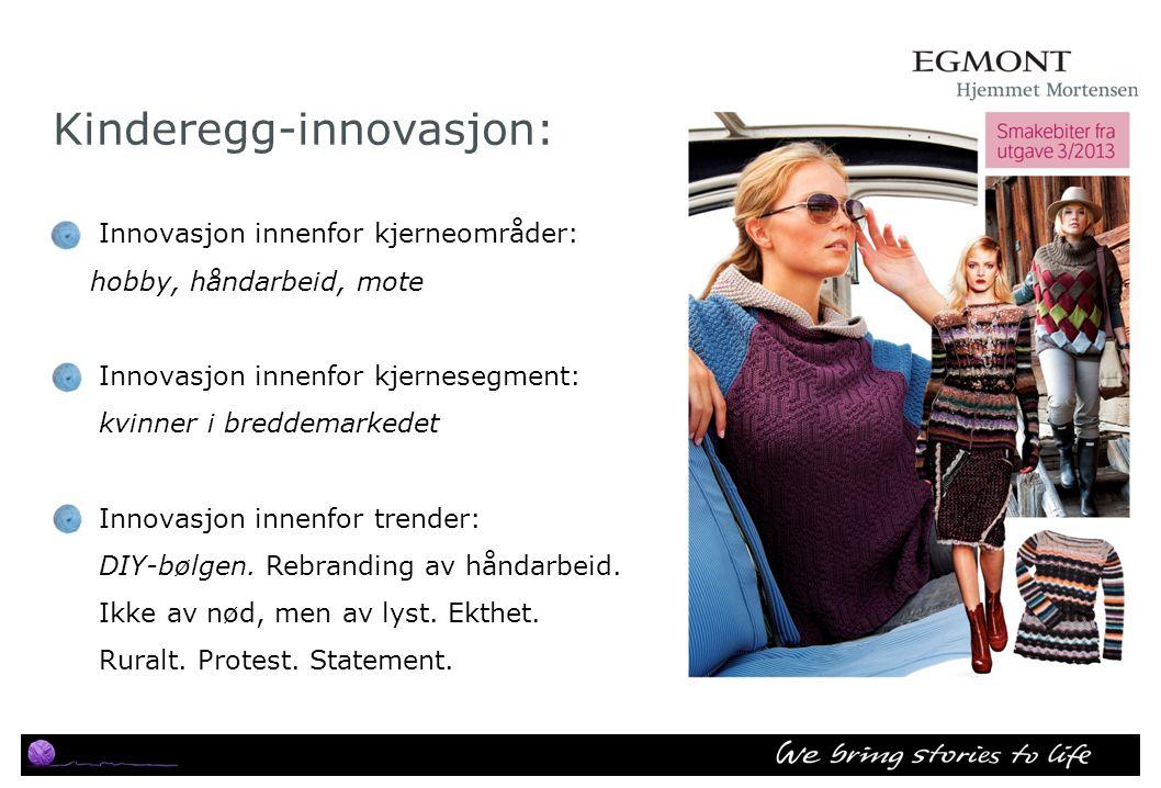 Kinderegg-innovasjon: Innovasjon innenfor kjerneområder: hobby, håndarbeid, mote Innovasjon innenfor kjernesegment: kvinner i breddemarkedet Innovasjo