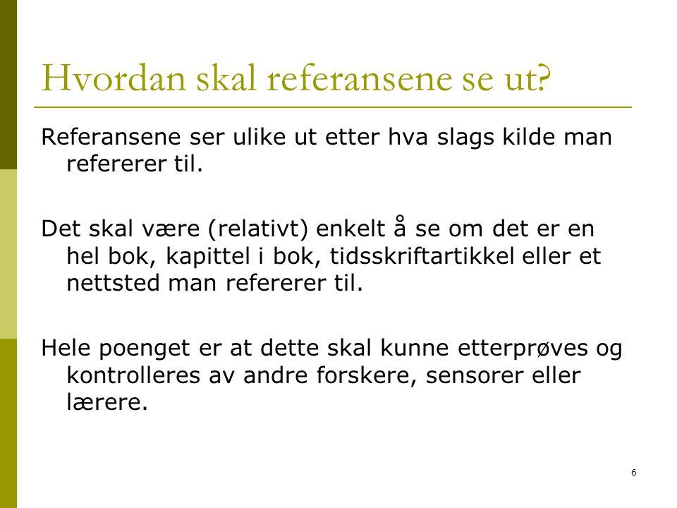 7 GENERELT - MAL [1] Fornavnets initialer + Etternavn, Tittel i kursiv.