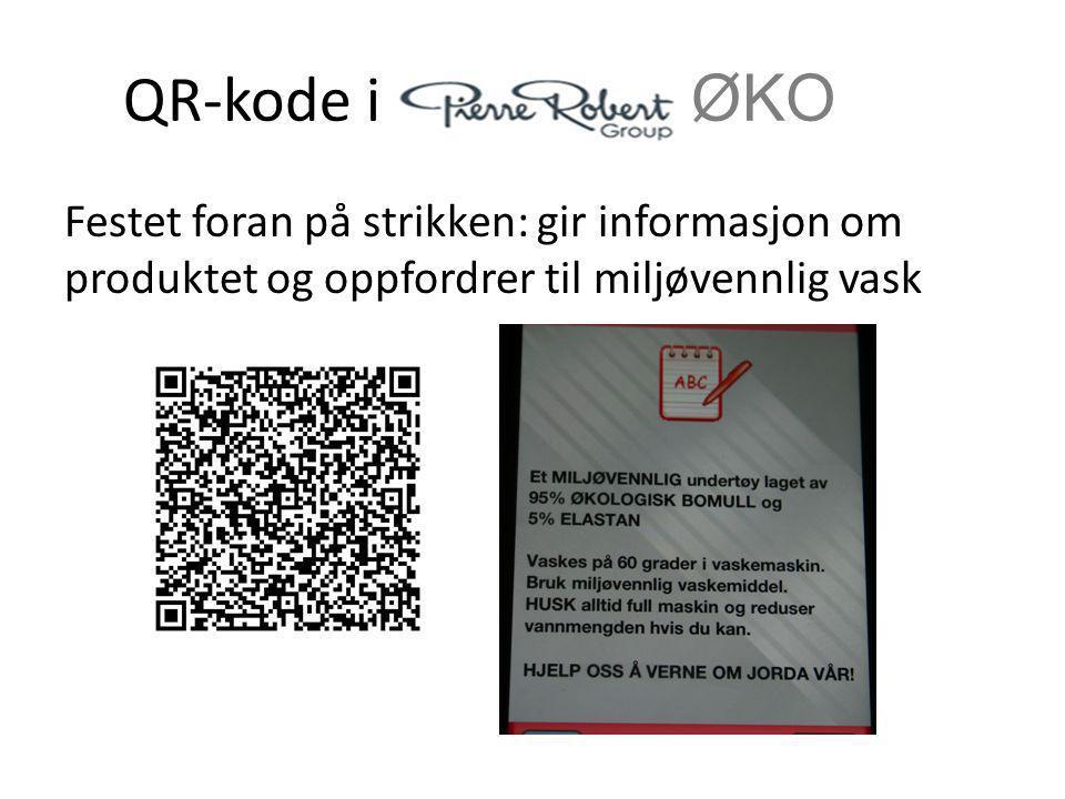 QR-kode i ØKO Festet foran på strikken: gir informasjon om produktet og oppfordrer til miljøvennlig vask