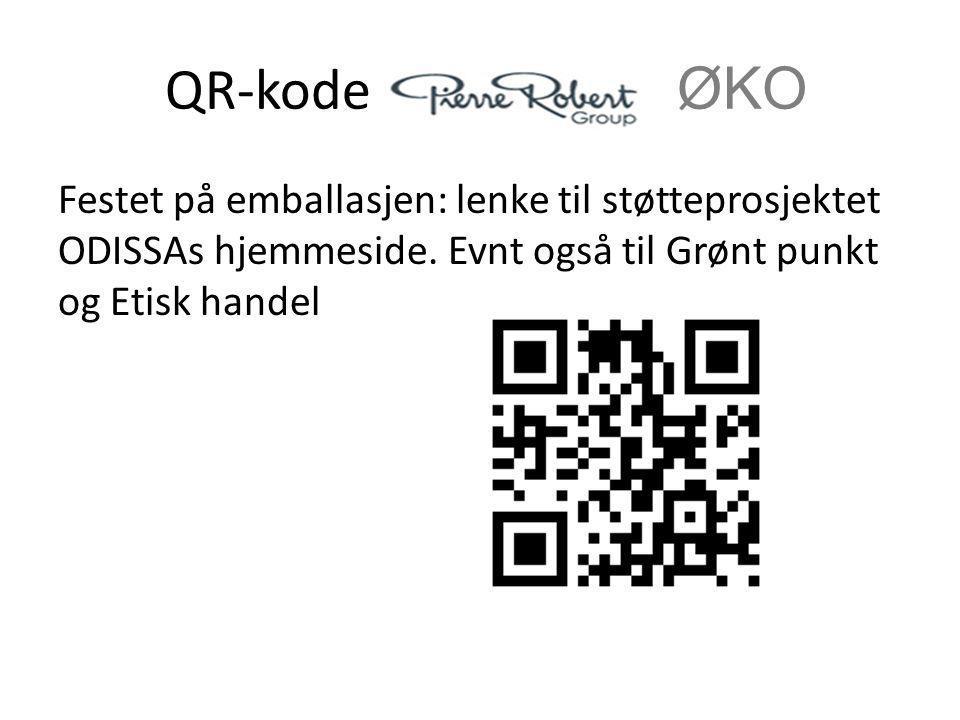 QR-kode i ØKO Festet på emballasjen: lenke til støtteprosjektet ODISSAs hjemmeside. Evnt også til Grønt punkt og Etisk handel