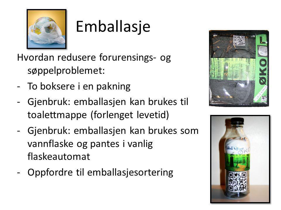 Emballasje Hvordan redusere forurensings- og søppelproblemet: -To boksere i en pakning -Gjenbruk: emballasjen kan brukes til toalettmappe (forlenget l