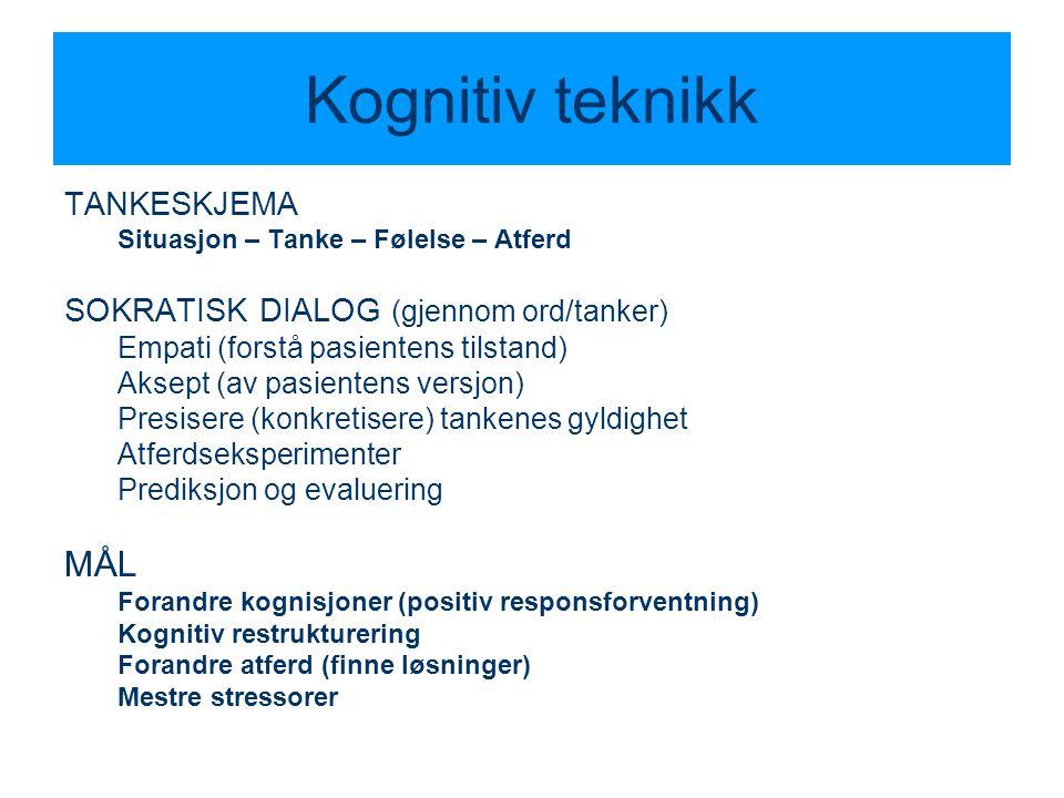Kognitiv teknikk TANKESKJEMA Situasjon – Tanke – Følelse – Atferd SOKRATISK DIALOG (gjennom ord/tanker) Empati (forstå pasientens tilstand) Aksept (av