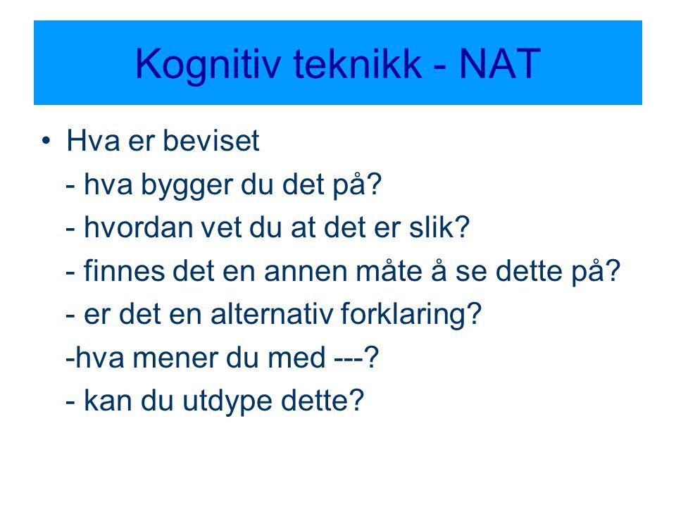 Kognitiv teknikk - NAT •Hva er beviset - hva bygger du det på? - hvordan vet du at det er slik? - finnes det en annen måte å se dette på? - er det en