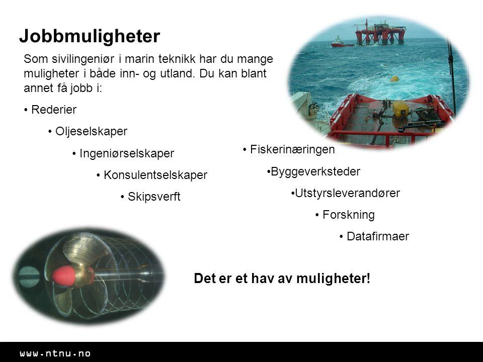 www.ntnu.no Jobbmuligheter Som sivilingeniør i marin teknikk har du mange muligheter i både inn- og utland.