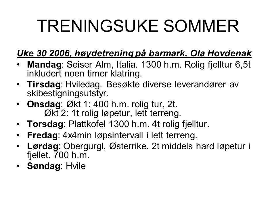 TRENINGSUKE SOMMER Uke 30 2006, høydetrening på barmark.