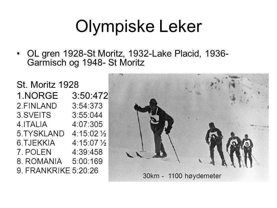 Olympiske Leker •OL gren 1928-St Moritz, 1932-Lake Placid, 1936- Garmisch og 1948- St Moritz St.