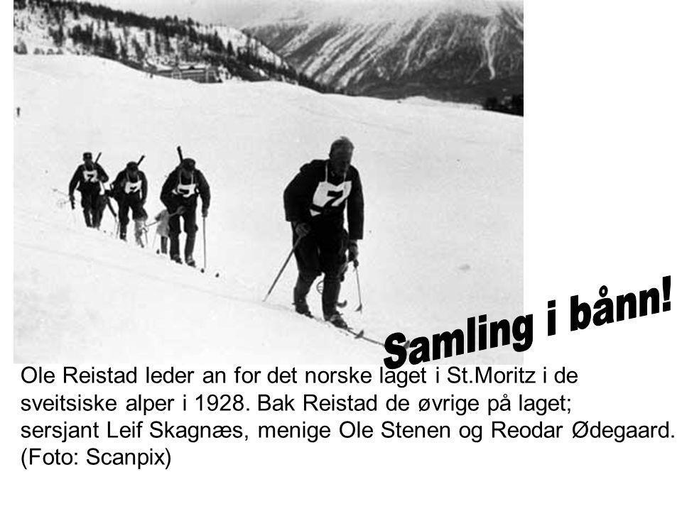 Ole Reistad leder an for det norske laget i St.Moritz i de sveitsiske alper i 1928.