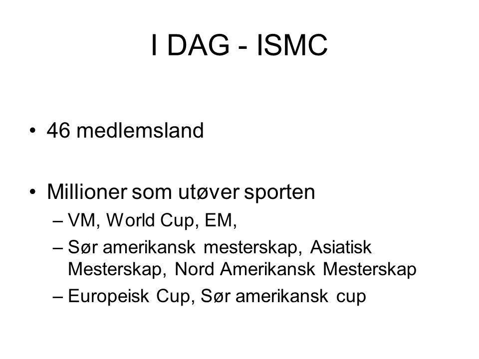 I DAG - ISMC •46 medlemsland •Millioner som utøver sporten –VM, World Cup, EM, –Sør amerikansk mesterskap, Asiatisk Mesterskap, Nord Amerikansk Mesterskap –Europeisk Cup, Sør amerikansk cup