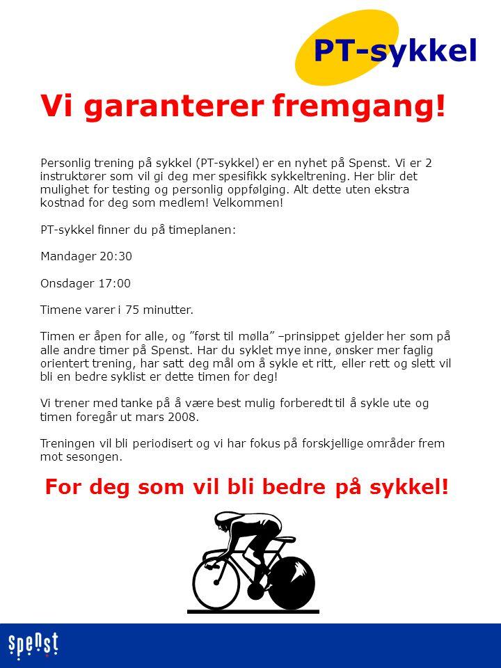 Personlig trening på sykkel (PT-sykkel) er en nyhet på Spenst. Vi er 2 instruktører som vil gi deg mer spesifikk sykkeltrening. Her blir det mulighet