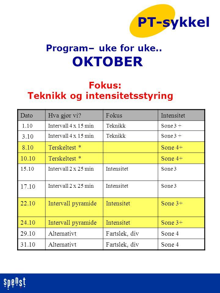 Program– uke for uke.. OKTOBER Fokus: Teknikk og intensitetsstyring PT-sykkel DatoHva gjør vi?FokusIntensitet 1.10Intervall 4 x 15 minTeknikkSone 3 +
