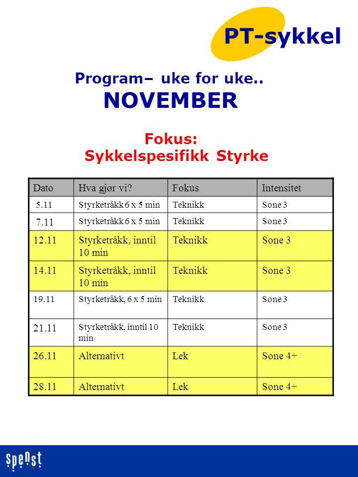 Program– uke for uke.. NOVEMBER Fokus: Sykkelspesifikk Styrke PT-sykkel DatoHva gjør vi?FokusIntensitet 5.11Styrketråkk 6 x 5 minTeknikkSone 3 7.11 St