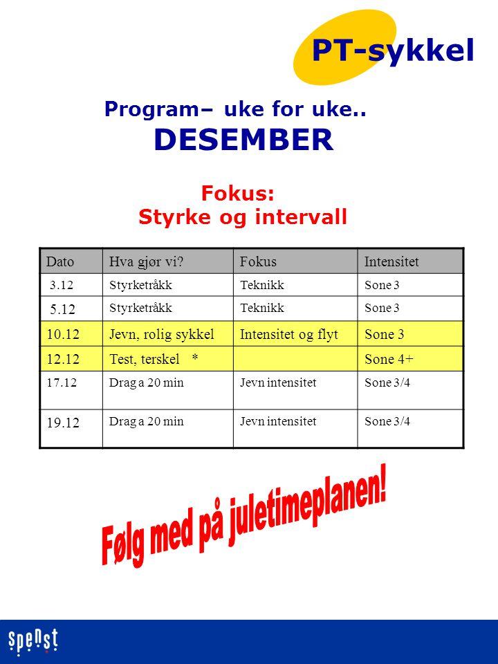 Program– uke for uke.. DESEMBER Fokus: Styrke og intervall PT-sykkel DatoHva gjør vi?FokusIntensitet 3.12StyrketråkkTeknikkSone 3 5.12 StyrketråkkTekn