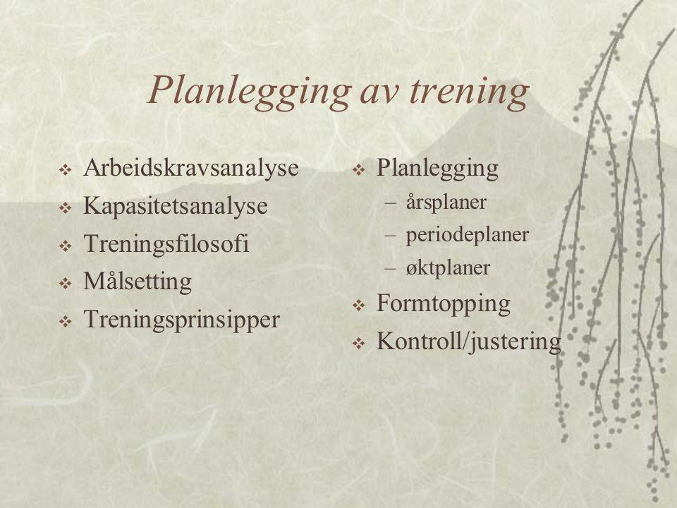 Planlegging av trening  Arbeidskravsanalyse  Kapasitetsanalyse  Treningsfilosofi  Målsetting  Treningsprinsipper  Planlegging –årsplaner –period