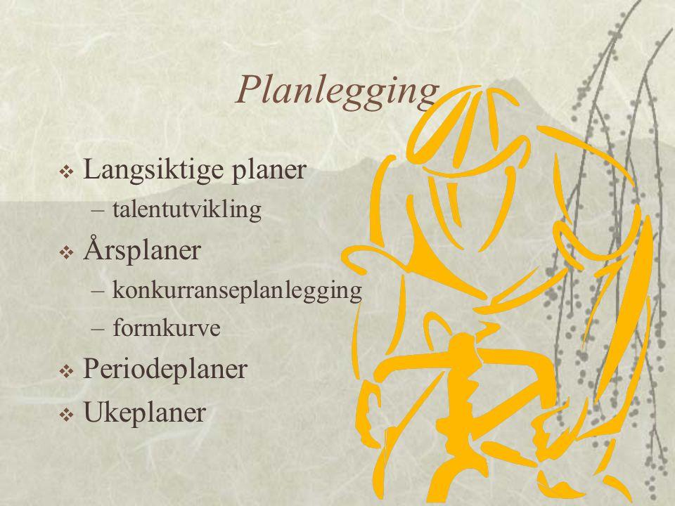 Planlegging  Langsiktige planer –talentutvikling  Årsplaner –konkurranseplanlegging –formkurve  Periodeplaner  Ukeplaner