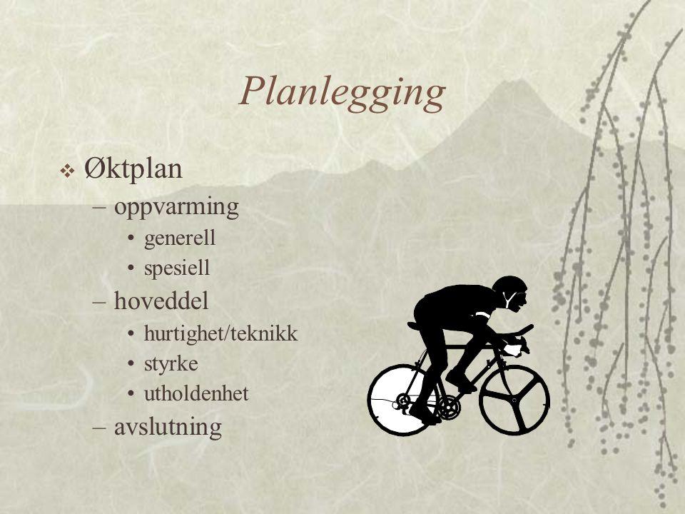 Planlegging  Øktplan –oppvarming •generell •spesiell –hoveddel •hurtighet/teknikk •styrke •utholdenhet –avslutning