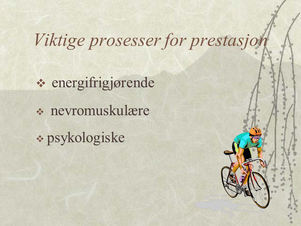 Energifrigjørende prosesser  Anaerobe (uten tilgang på oksygen) –Kreatinfosfatspalting –Melkesyreproduksjon  Aerobe (krever tilgang på oksygen) –Forbrenning av fett –Forbrenning av karbohydrater