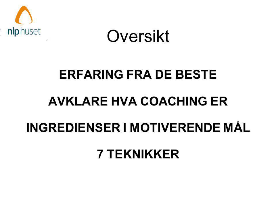 Oppsummert ERFARING FRA DE BESTE AVKLARE HVA COACHING ER INGREDIENSER I MOTIVERENDE MÅL 7 TEKNIKKER LYKKE TIL VIDERE!