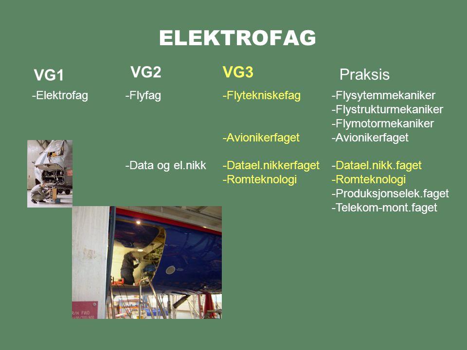 ELEKTROFAG VG1 -Elektrofag VG2VG3 -Flyfag -Data og el.nikk -Flytekniskefag -Avionikerfaget -Datael.nikkerfaget -Romteknologi Praksis -Flysytemmekaniker -Flystrukturmekaniker -Flymotormekaniker -Avionikerfaget -Datael.nikk.faget -Romteknologi -Produksjonselek.faget -Telekom-mont.faget