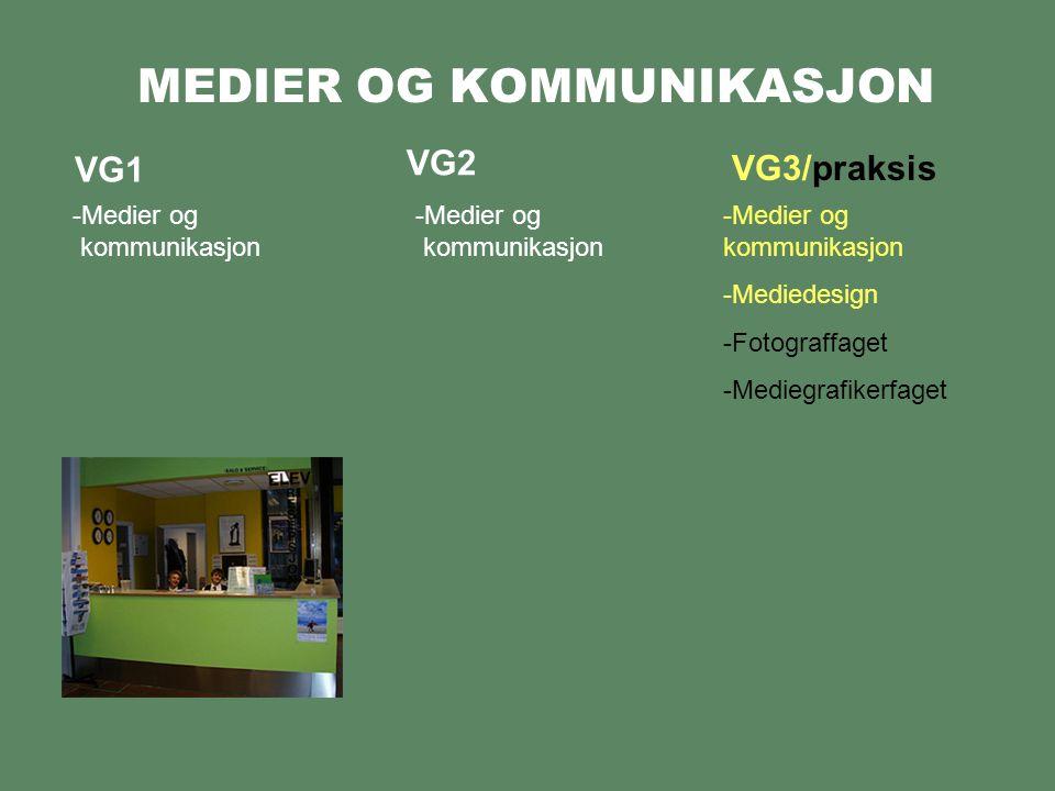 MEDIER OG KOMMUNIKASJON VG1 -Medier og kommunikasjon VG2 VG3/praksis -Medier og kommunikasjon -Medier og kommunikasjon -Mediedesign -Fotograffaget -Mediegrafikerfaget