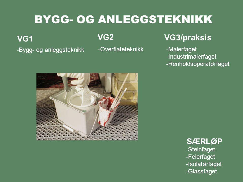 BYGG- OG ANLEGGSTEKNIKK VG1 -Bygg- og anleggsteknikk VG2 VG3/praksis -Overflateteknikk-Malerfaget -Industrimalerfaget -Renholdsoperatørfaget -Steinfaget -Feierfaget -Isolatørfaget -Glassfaget SÆRLØP