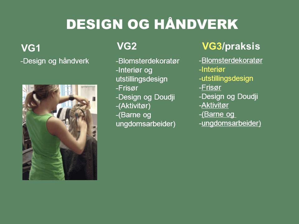 DESIGN OG HÅNDVERK VG1 -Design og håndverk VG2VG3/praksis -Design og trearbeid -Smed -Glasshåndverker -Ur og instrumentmaker -Orgelbyggerfaget -Bøkkerfaget -Tredreierfaget -Treskjærerfaget -Møbelsnekkerfaget -Smed -Glasshåndverker -Blyglassfaget -Urmaker -Storurmaker -Optroniker -Nautisk instrumentmaker