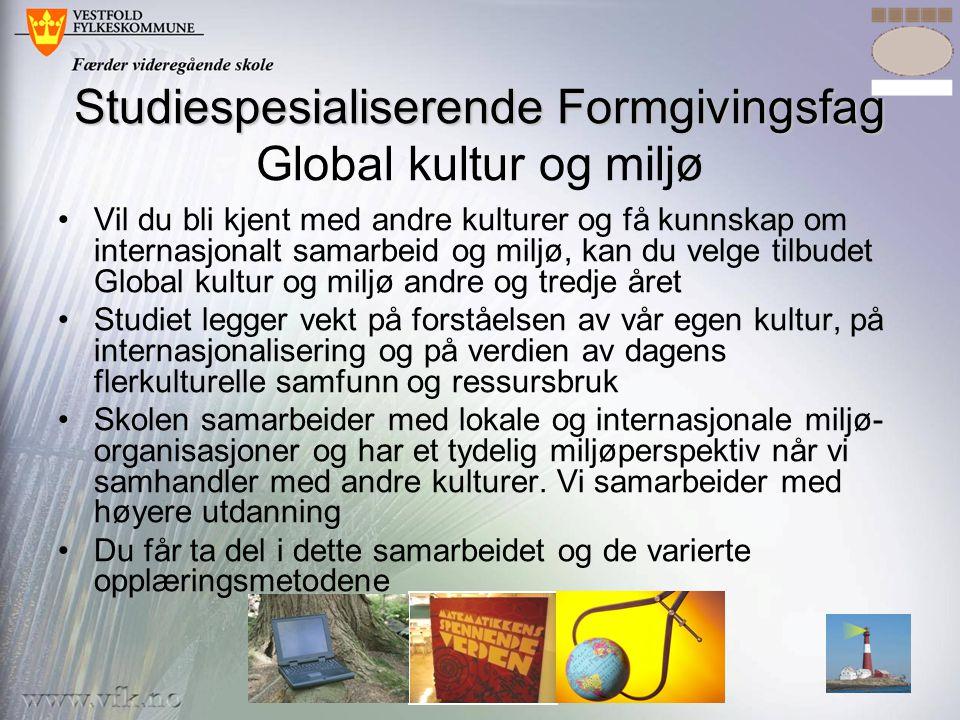 •Vil du bli kjent med andre kulturer og få kunnskap om internasjonalt samarbeid og miljø, kan du velge tilbudet Global kultur og miljø andre og tredje