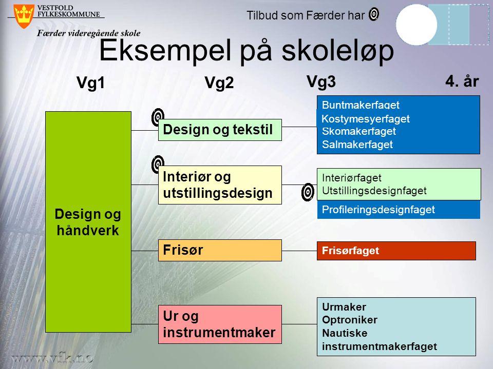 Eksempel på skoleløp Design og håndverk Vg1Vg2 Vg3 Buntmakerfaget Skomakerfaget Salmakerfaget Frisørfaget Urmaker Optroniker Nautiske instrumentmakerf