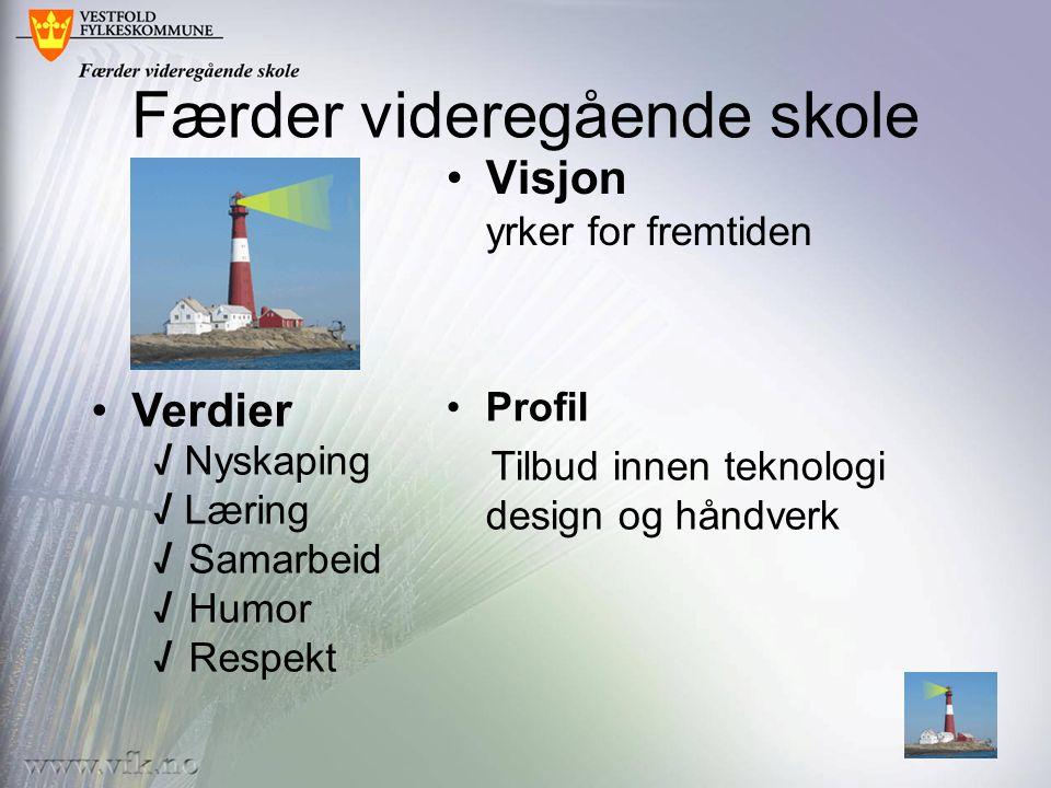 Færder videregående skole •Visjon yrker for fremtiden •Verdier √ Nyskaping √ Læring √ Samarbeid √ Humor √ Respekt •Profil Tilbud innen teknologi desig