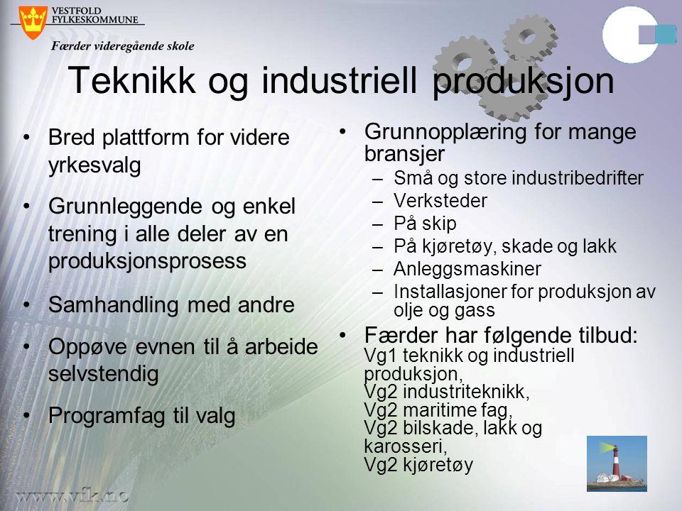 Teknikk og industriell produksjon •Grunnopplæring for mange bransjer –Små og store industribedrifter –Verksteder –På skip –På kjøretøy, skade og lakk