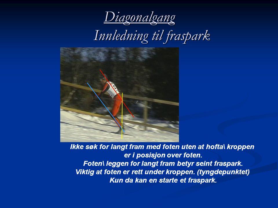 Diagonalgang Innledning til fraspark Ikke søk for langt fram med foten uten at hofta\ kroppen er i posisjon over foten.