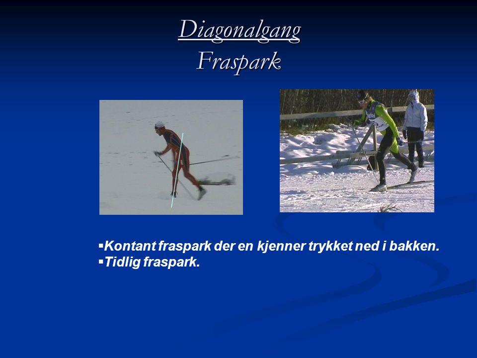Diagonalgang Fraspark  Kontant fraspark der en kjenner trykket ned i bakken.  Tidlig fraspark.