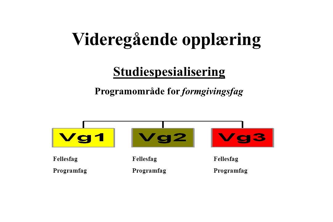 Videregående opplæring Studiespesialisering Programområde for formgivingsfag Fellesfag Programfag Fellesfag Programfag Fellesfag Programfag