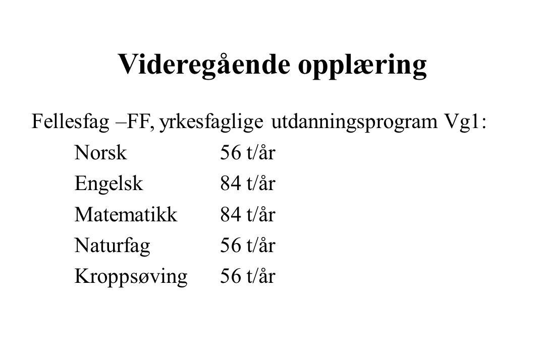 Videregående opplæring Fellesfag –FF, yrkesfaglige utdanningsprogram Vg1: Norsk56 t/år Engelsk84 t/år Matematikk84 t/år Naturfag56 t/år Kroppsøving56