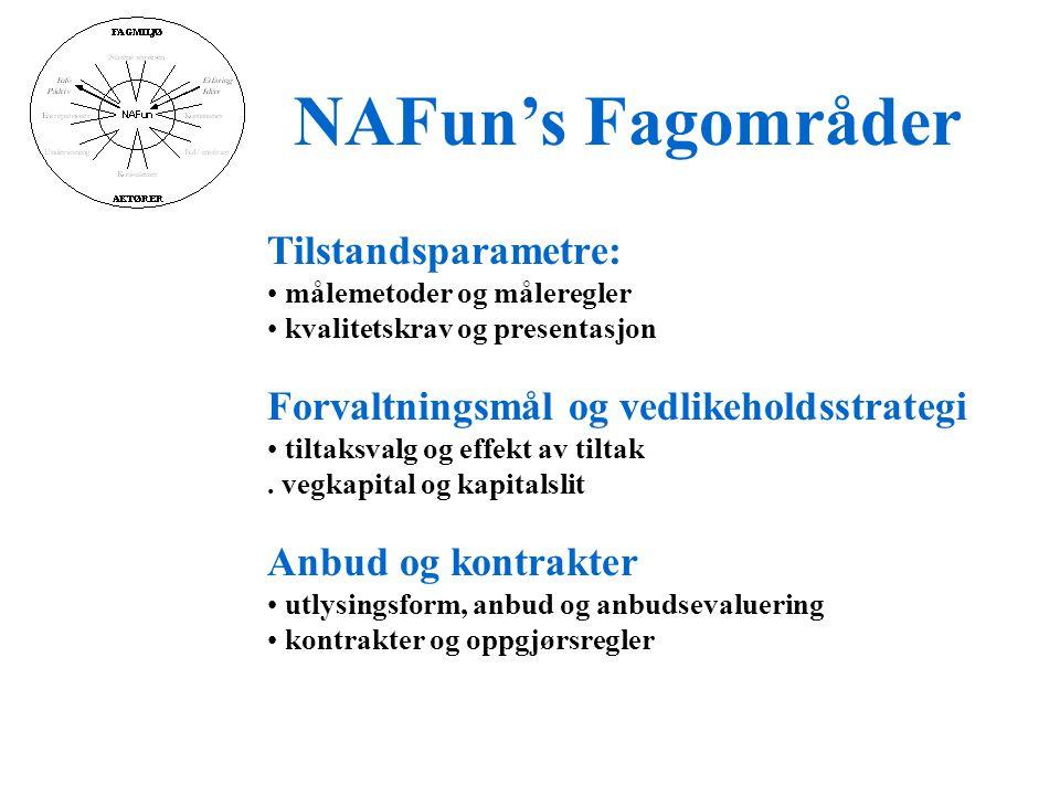 NAFun's Fagområder Tilstandsparametre: • målemetoder og måleregler • kvalitetskrav og presentasjon Forvaltningsmål og vedlikeholdsstrategi • tiltaksvalg og effekt av tiltak.