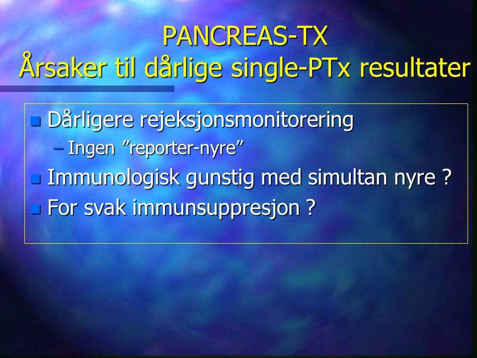"""PANCREAS-TX Årsaker til dårlige single-PTx resultater n Dårligere rejeksjonsmonitorering –Ingen """"reporter-nyre"""" n Immunologisk gunstig med simultan ny"""