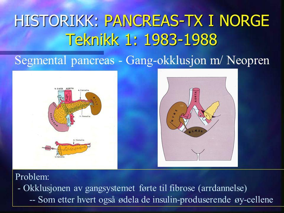 HISTORIKK: PANCREAS-TX I NORGE Teknikk 2: 1988-1997 Exocrin drenasje til blære Problemer: - Kjemisk cystitt - Metabolsk acidose Fordel: - Sikker anastomose til blære ?.