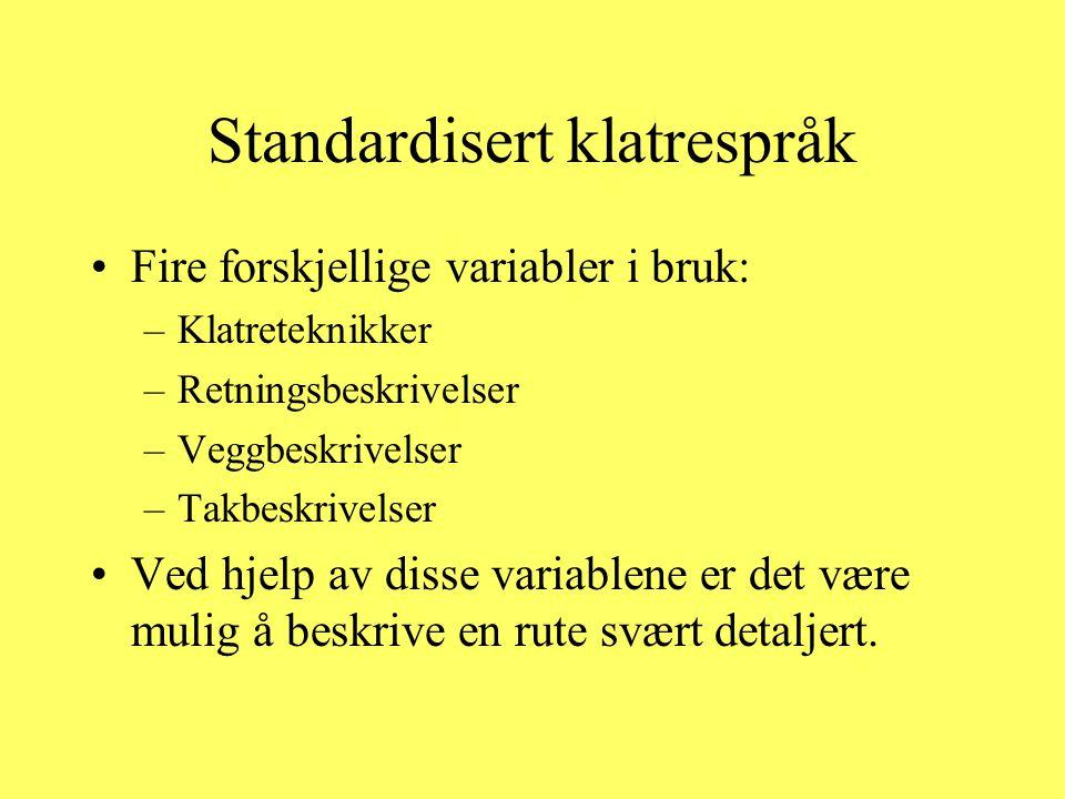 Standardisert klatrespråk •Fire forskjellige variabler i bruk: –Klatreteknikker –Retningsbeskrivelser –Veggbeskrivelser –Takbeskrivelser •Ved hjelp av