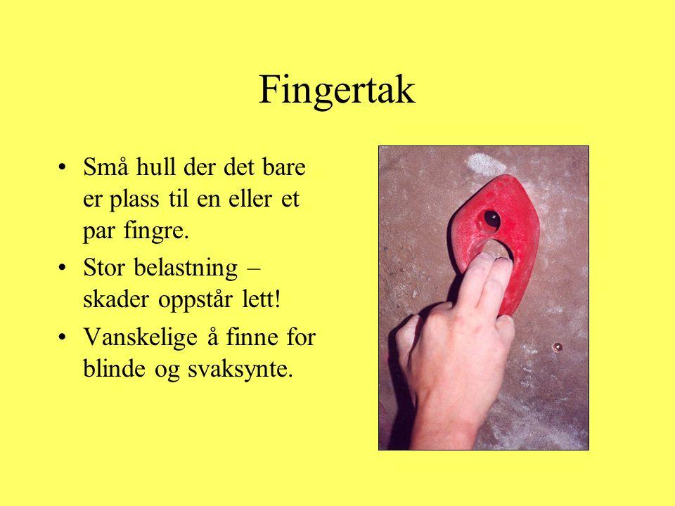 Fingertak •Små hull der det bare er plass til en eller et par fingre. •Stor belastning – skader oppstår lett! •Vanskelige å finne for blinde og svaksy