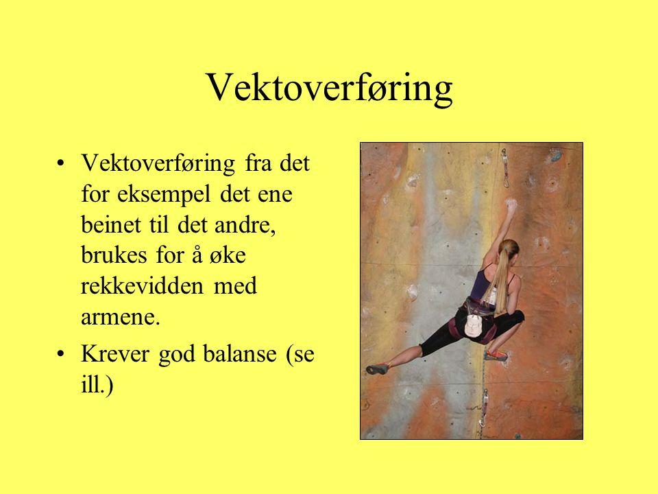 Vektoverføring •Vektoverføring fra det for eksempel det ene beinet til det andre, brukes for å øke rekkevidden med armene. •Krever god balanse (se ill