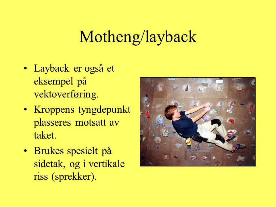 Motheng/layback •Layback er også et eksempel på vektoverføring. •Kroppens tyngdepunkt plasseres motsatt av taket. •Brukes spesielt på sidetak, og i ve