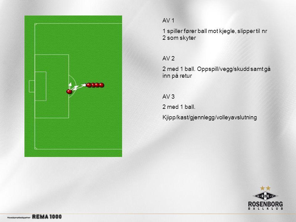 AV 1 1 spiller fører ball mot kjegle, slipper til nr 2 som skyter AV 2 2 med 1 ball.