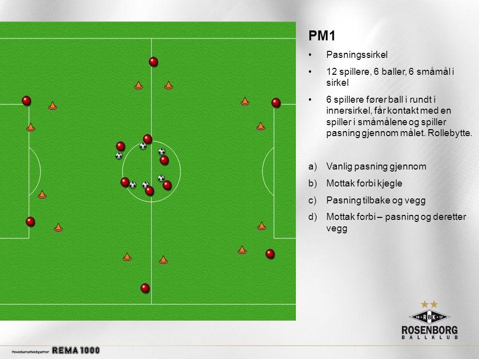 PM1 •Pasningssirkel •12 spillere, 6 baller, 6 småmål i sirkel •6 spillere fører ball i rundt i innersirkel, får kontakt med en spiller i småmålene og spiller pasning gjennom målet.